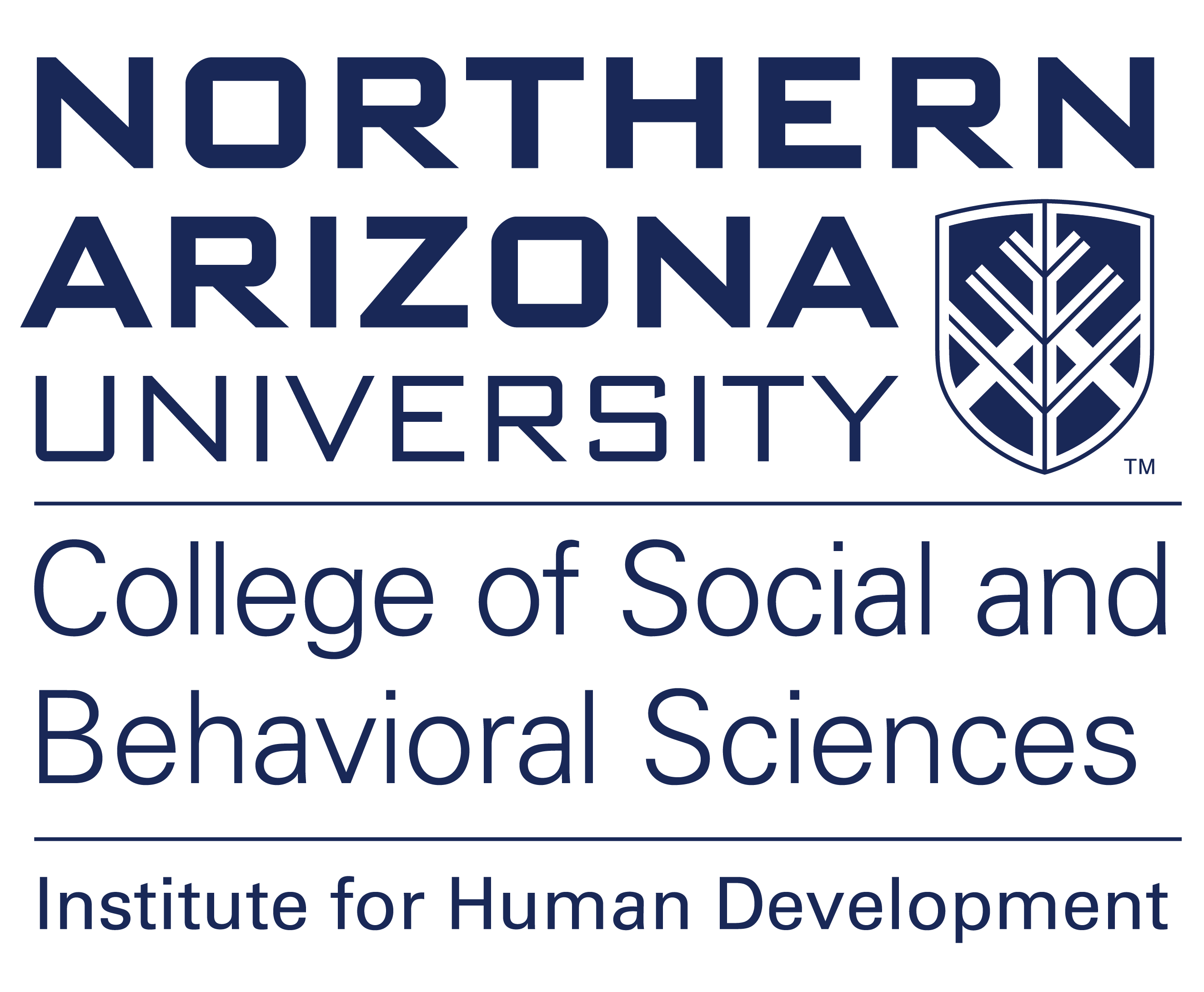 The Northern Arizona University logo that includes designations for the College of Social and Behavioral Studies and the Institute for Human Development.